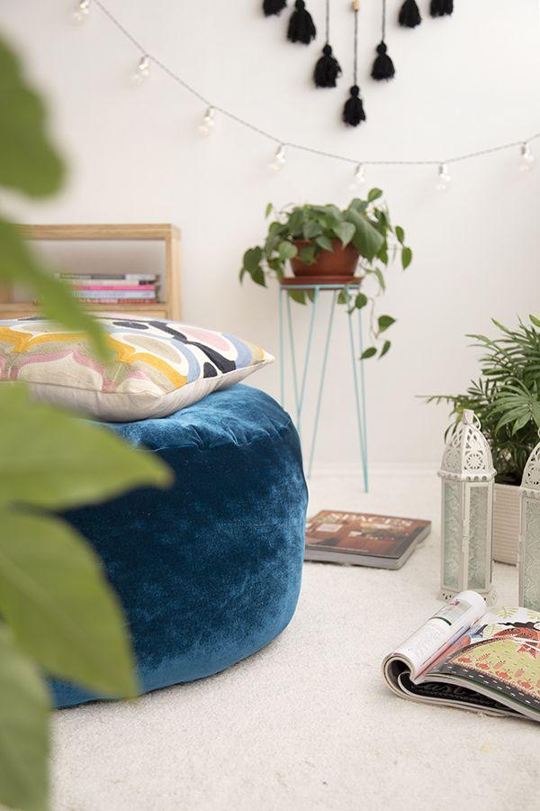 DIY cojín de suelo o pouf de terciopelo     DIY boho chic, pouf or floor velvet cushion.