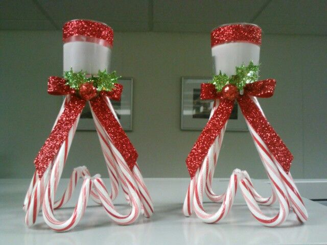 Candy cane candle holders I made last night.