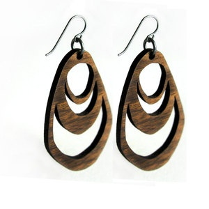 laser cut walnut earrings