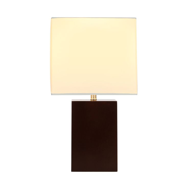 Brightech - Mode Contemporary Table & Desk Lamp - Genuine Wood Base - Relaxing Light for Nightstands, Guestrooms, Professional Offices, and more - Walnut Brown. VERSATILE ADDITION TO HOME OR OFFICE: Elegant, off-white fabric shade atop a rectangular base fashioned of authentic wood. Small enough to pair with other décor on the same surface or to leave plenty of open space on your desk. Creates ambient light in foyers, bedrooms, residential suites, or professional environments. SUBTLE GLOW...