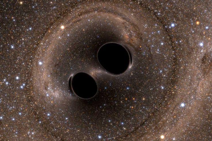 Imagem de uma fusão buraco negro simulada