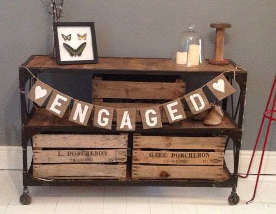 Hey, I found this really awesome Etsy listing at https://www.etsy.com/listing/162350128/hessian-burlap-engagement-party-banner