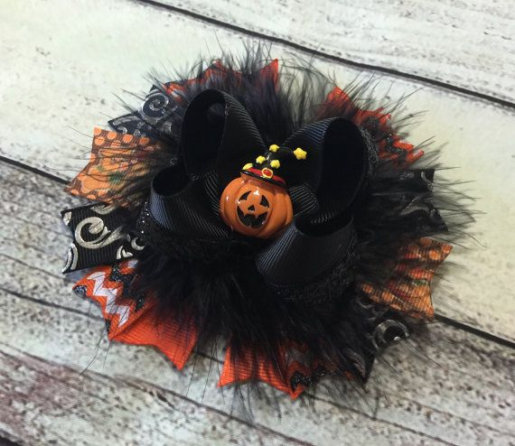 Hey, I found this really awesome Etsy listing at https://www.etsy.com/listing/465661736/halloween-hair-bow-pumpkin-hair-bows
