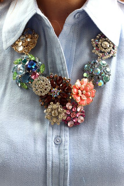 OH MY STARS a broach NECKLACE?!  Be still my heart...  DIY J. Crew necklace knock-off via Bromeliad