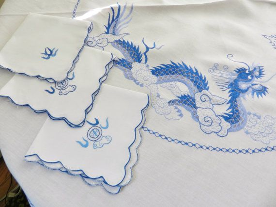 Vintage Asian Blue Dragon Tablecloth Napkins by SnowyCreekDesigns