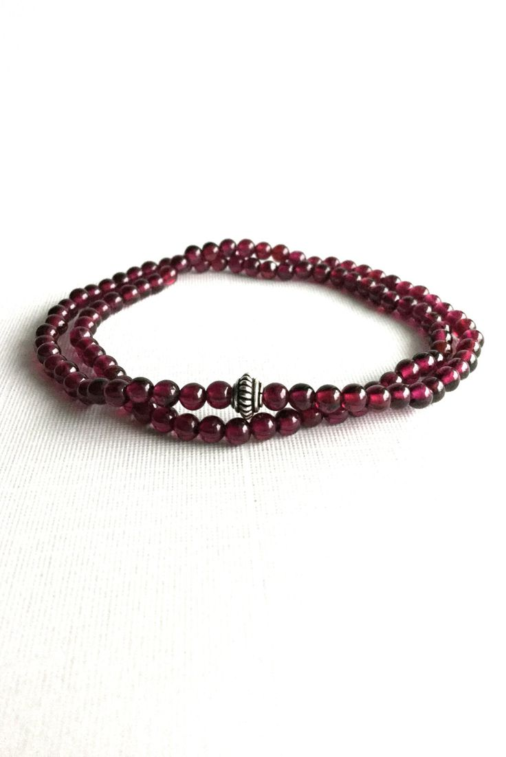 Garnet Bead Bracelet, Semi Precious Stone Women's / Men's Jewelry, Stretch Red Stone Bracelet, Genuine Garnet Bracelet, Small Dark Red Beads by GemsByKelley on Etsy
