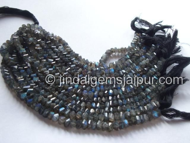 Labradorite Twisted Roundelle Gemstone Beads.