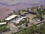An aerial view of the El Tovar Hotel, Hopi House, Colter Hall and the Kachina Lodge. A passenger train is at the depot of the South Rim Village Historic District, Grand Canyon National Park. D0727