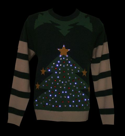 Unisex Green LED Light Up Christmas Tree Knitted Jumper From Cheesy Christmas Jumpers : TruffleShuffle.com