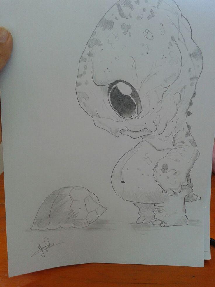 Desenho a lápis, tartaruga de chris