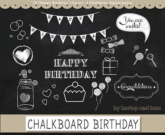 Clip arts chalkboard Happy Birthday clip arts, chalkboard digital paper pack, chalkboard clipart, chalkboard happy birthday