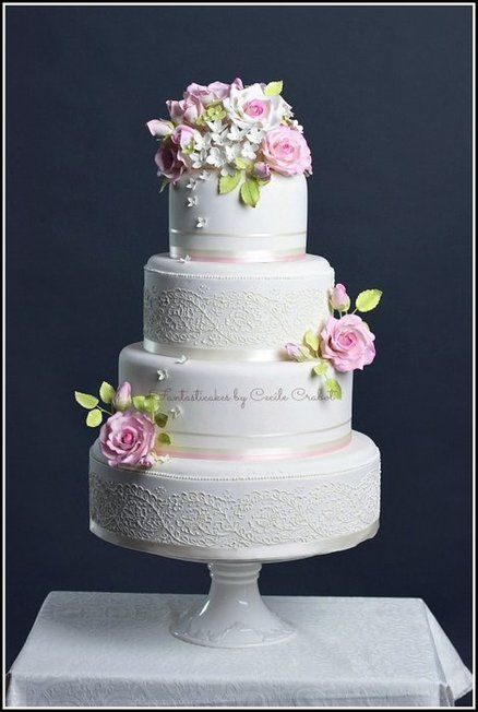Flower and lace wedding cake