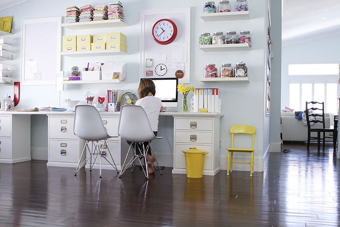 White + bright colours in a home office/craft/homework spaceCrafts Area, Kids Offices, Offices Spaces, Crafts Spaces, Crafts Room, Work Spaces, Homework Area, Spaces Crafts, Home Offices