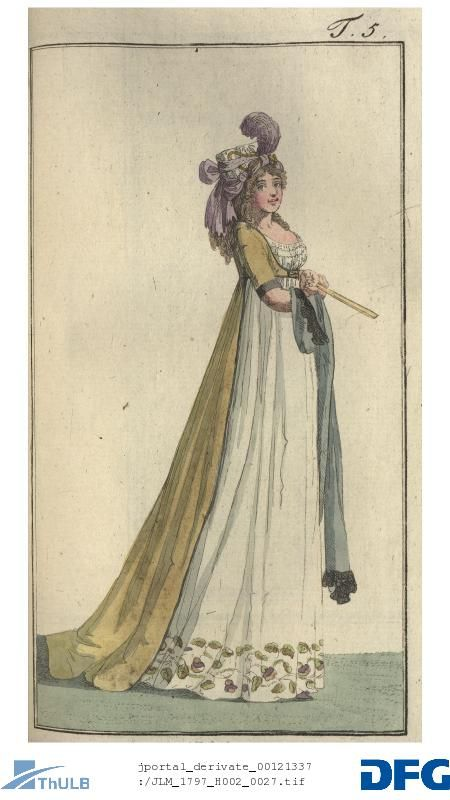 Plate 5: A lady with a turban and robe Turque with very narrow train.