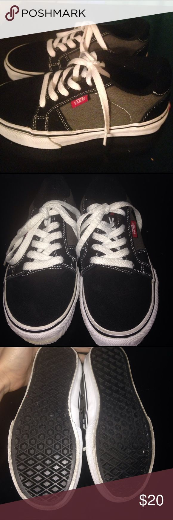 Boys vans shoes In great condition. My kiddo only wore them maybe 3 times. Close up photo shows a little discoloration on the front of sole. Little bit of scuffs on the front toe area. Vans Shoes