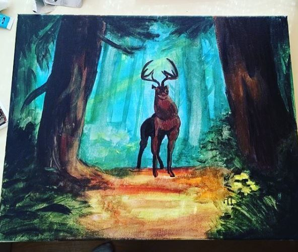 Bambi's majestic father done with dollarama acrylic paint