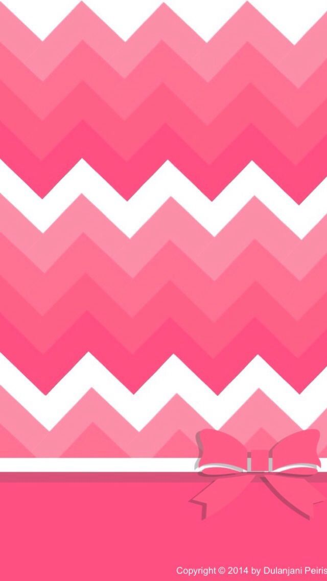PINK CHEVRON WITH BOW IPHONE WALLPAPER BACKGROUND