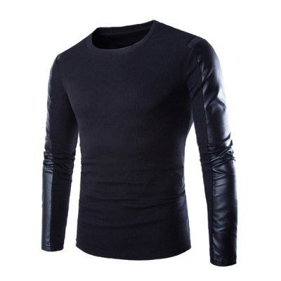 Material: Cotton, Polyester, Faux Leather  Sleeve Length: Full  Collar: Round Neck  Style: Fashion  Weight: 0.5KG  Package Contents: 1 x T-Shirt  Pattern Type: Patchwork  SizeBustLengthShoulder WidthSleeve Length M94654261 L98674362 XL102694463 2XL106714564