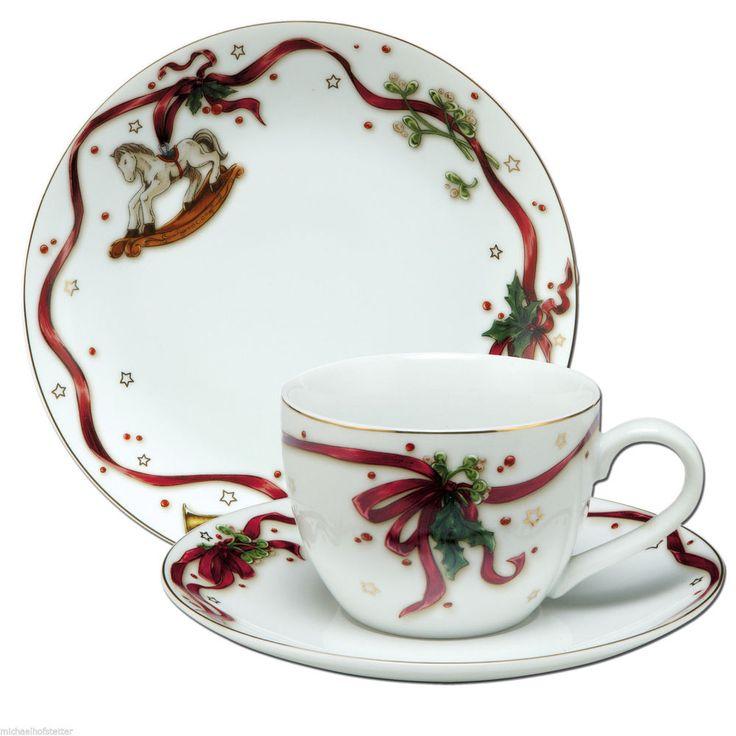 Goebel Weihnachtsgeschirr Kaffeegedeck Kaffee Tasse Frühstücksteller Gedeck 3tlg