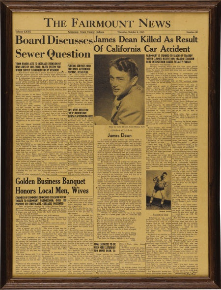 Fairmount newspaper announcing James Dean's death