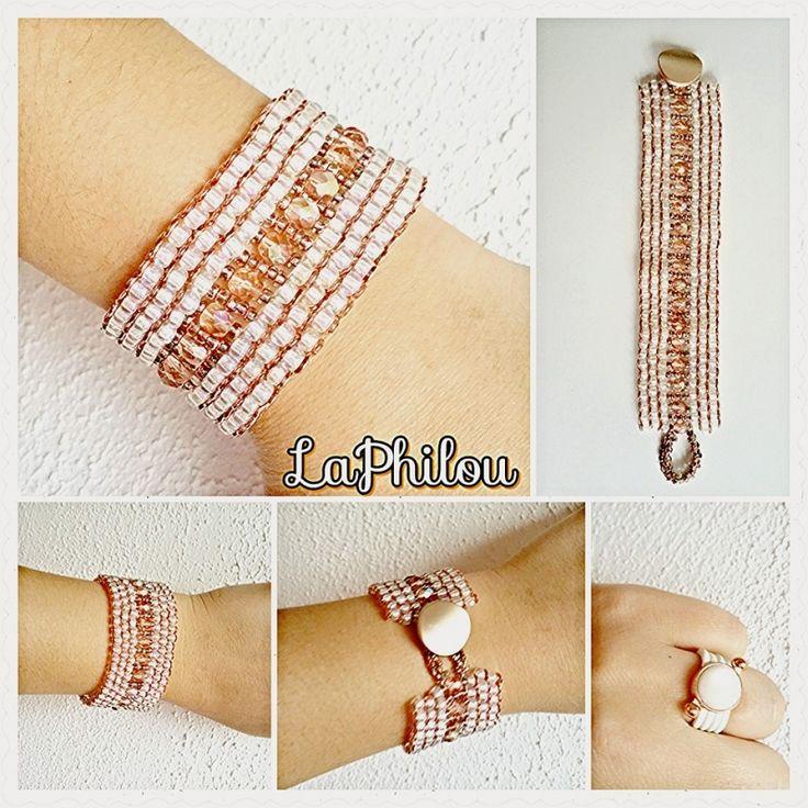 Beadwork Payote bracelet rozegold - LaPhilou