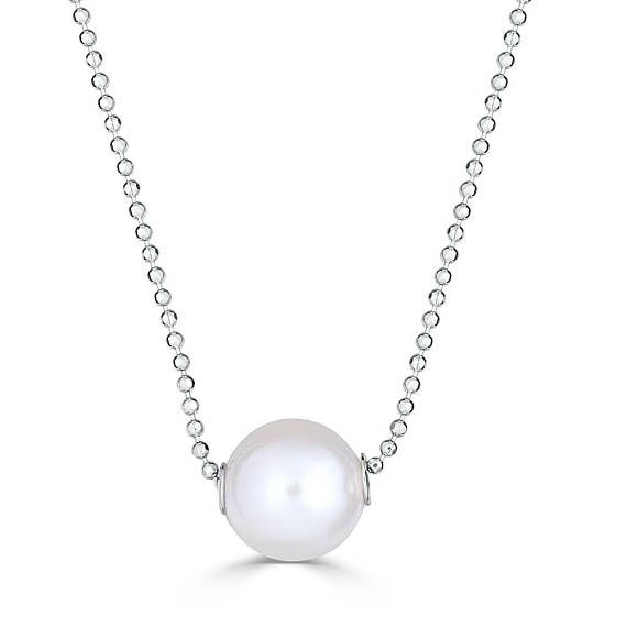 """Single Pearl Necklace, Pearl Necklace Choker, Floating Pearl Necklace, Freshwater Pearl Necklace, 10 mm pearl , Pearl Necklace Wedding  Simple and style comes together in this sleek pearl necklace. Crafted in 925 fine sterling silver, this simple design features a 10 mm freshwater cultured pearl centered along with diamond-cut 1.2 mm 18"""" ball chain. The necklace is plated with rhodium to ensure a shiny and tarnish-resistant surface."""