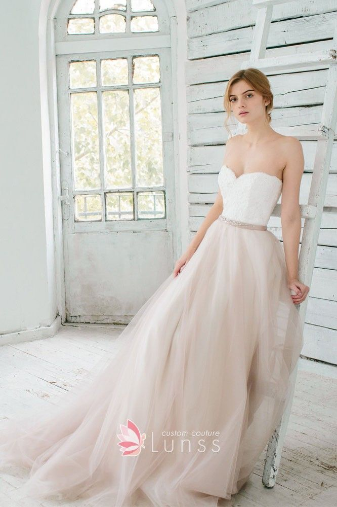 a015dbc5299df White Lace and Nude Tulle Strapless Sweetheart Two-tone Romantic ...