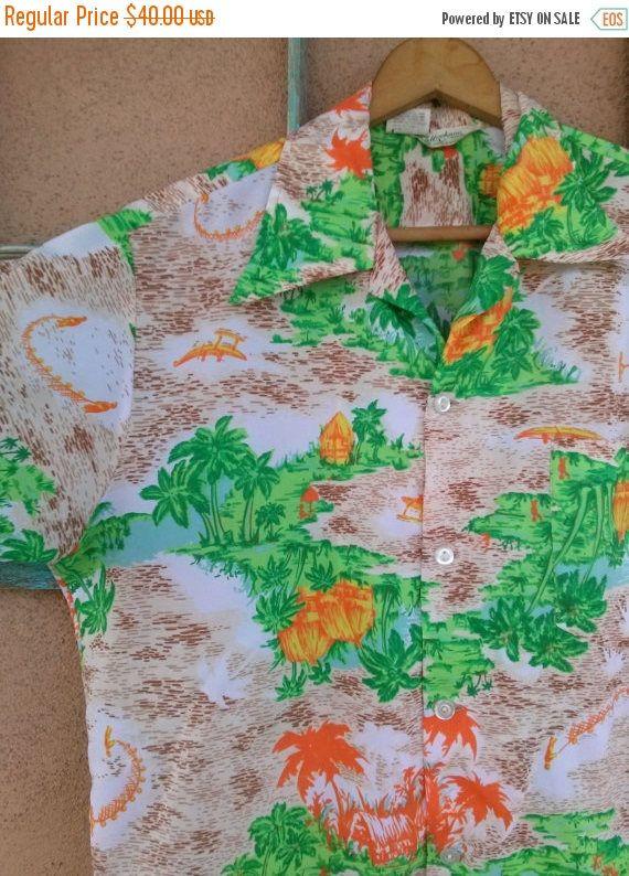 ON SALE Vintage 1970s Hawaiian Shirt Rockabilly Tiki 70s Aloha Masuka Shirt Large Mens 42 #cabana #HawaiianShirt #Mens40 #AlohaShirt #preppy #DonDraper #MensVintage #RatPack #MiamiVice #tropical