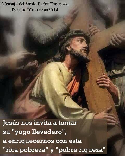 #Cuaresma2014 Jesús nos invita a compartir con Él su espíritu filial y fraterno, a convertirnos en hijos en el Hijo, hermanos en el Hermano Primogénito #PapaFrancisco