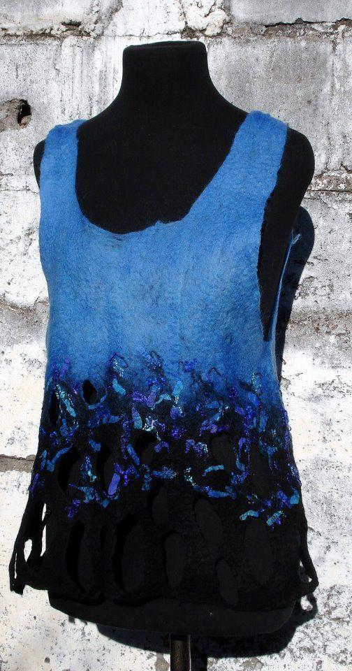 chaleco de fieltro sin costura Celia Mikkelsen www.artefieltros.com