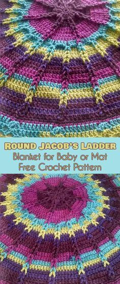 Round Jackob's Ladder Blanket for Baby or Mat Free Crochet Pattern