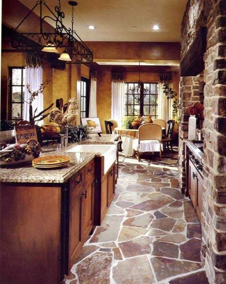 Flagstone flooring kitchen laundry room and bathrooms for Tuscan flooring