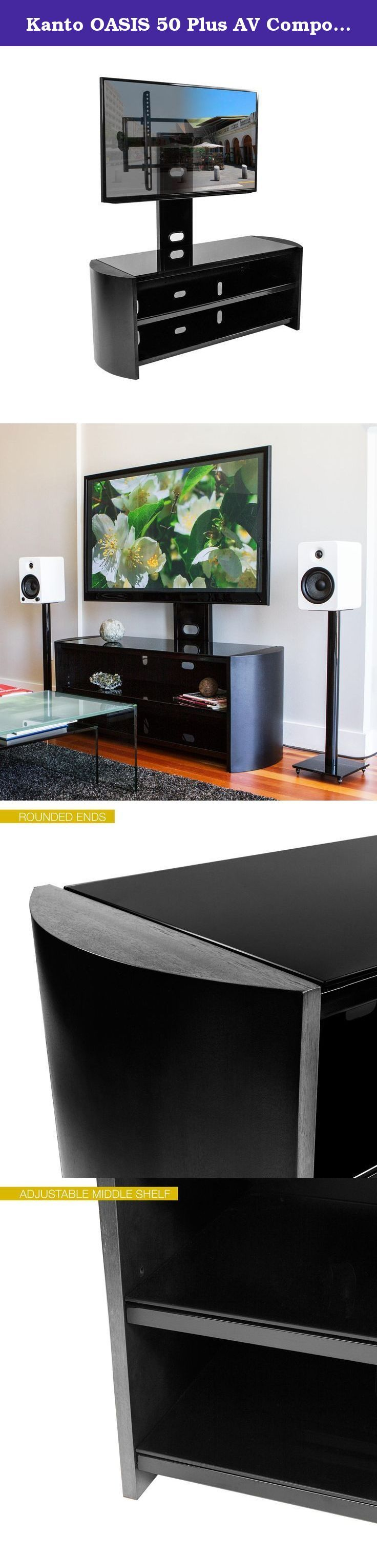 """Kanto OASIS 50 Plus AV Component Stand With TV Mount For 37 to 70-Inch Displays, Tempered Glass Shelves, Black. Kanto OASIS Plus is a sophisticated wood and glass shelf audio video component stand with a built-in TV mount for 37"""" to 70"""" TVs. OASIS Plus offers three tempered black glass shelves and is available in a variety of finishes. It is an attractive and functional piece for any home. Simple assembly and handy cable management ensure a quick and professional-looking home…"""