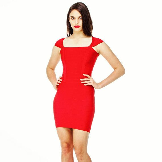 Red Dress-Square Neck Red Dress