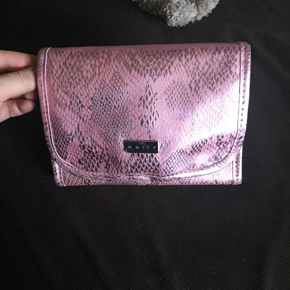 Mally Cosmetic bag and shimmering Black Eye liner Mally pink snake print cosmetic bag Mally Makeup Eyeliner