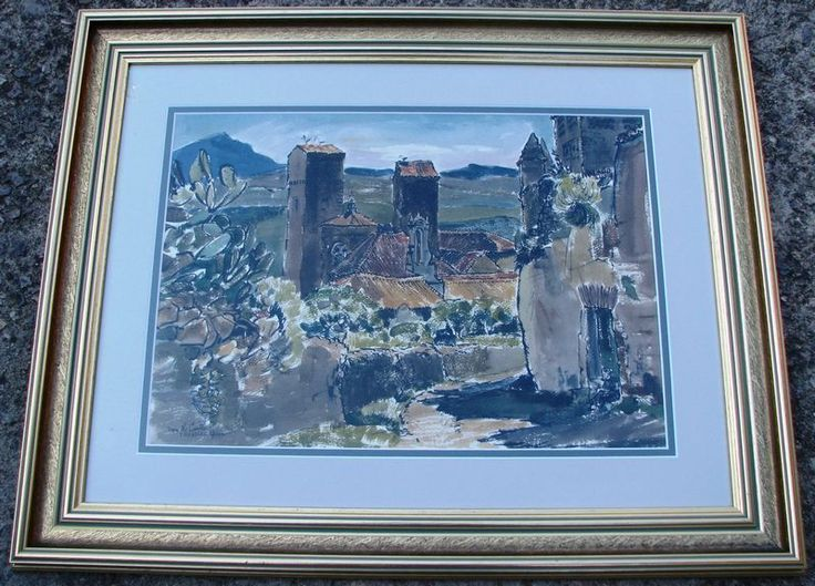 Australian Artist  .. Cedric Emanuel Watercolour/Ink  Castle Trujillo Spain