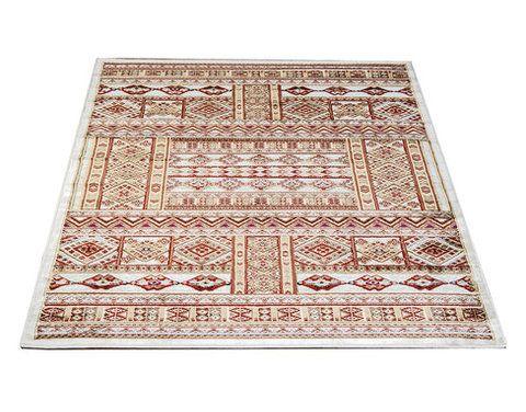 Medallion-matto, valkoinen. Itämaistyylinen matto. Lyhyt nukka, sileä ja pehmeä pinta.