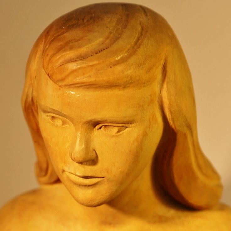 """La jeune fille"" by Laureat Valliere.  Quebec master wood carver.  Wood carving. Young nude female. Sits over 18"" tall."