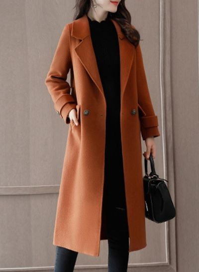 Fashion Loose Fit Double Breasted Woolen Coat