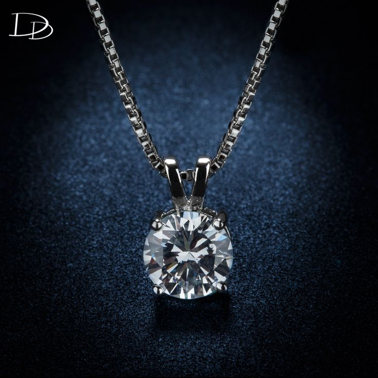fashion women's pendant necklace AAA CZ diamond jewelry white gold plated romantic charming wedding link chain wholesale DSN002