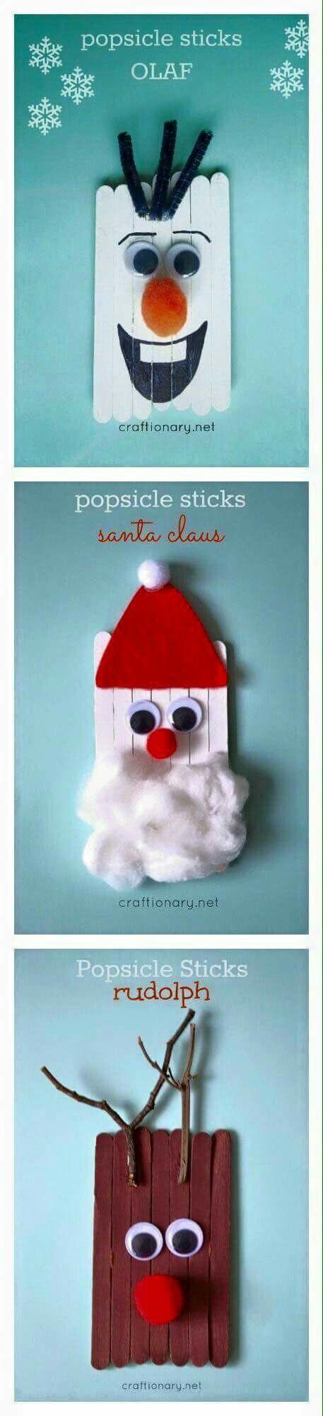 Olaf decoration out of lollipop sticks