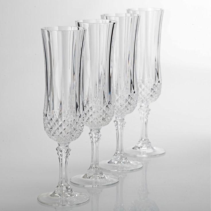 4 Cristal d Arques Sektkelche Longchamp Sektgläser Bleikristall Gläser H3A