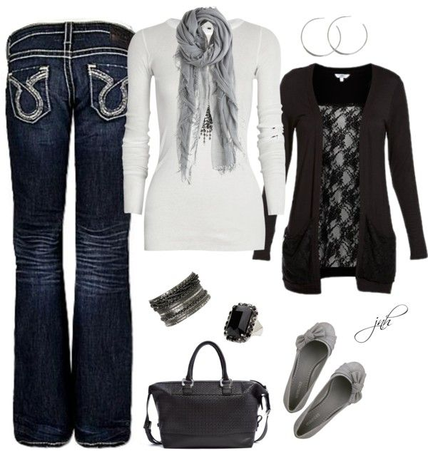 """Black+Gray""Fashion, Black Gray, Fall Style, Black Lov, Clothing, Polyvore Jeans, Fall Winte, Black White, Fall Outfit"