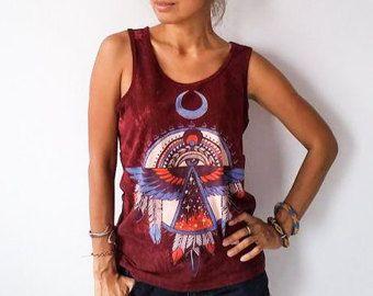 Piedra impresión nativo americano del ojo del alma lavada camiseta de mujeres / Tank Top / camiseta / chaleco. Colores negros o rojos.