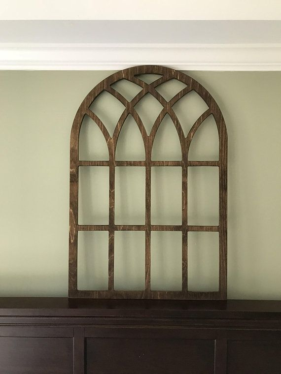 Arched Farmhouse Frame Faux Window Stained Custom Arch