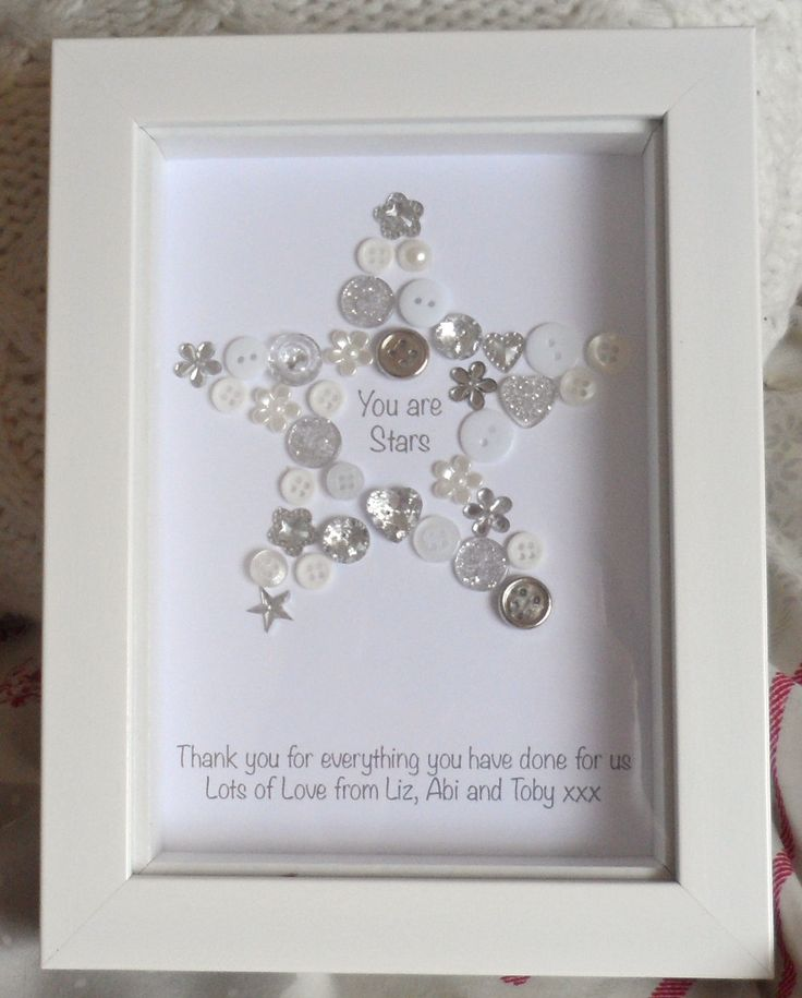 Brand New Youre a Star button picture A beautiful personalised Youre a Star button picture in a small 5x7 frame. A beautiful and unique gift ideal as a thank you gift for teachers, friends, doctors, nurses, vets, family and more. Available in various colours please see the drop down list. All items are completely unique, so although the one you order will look similar to this the buttons and placement will not be exactly the same. The personalised message underneath can read whatever you...