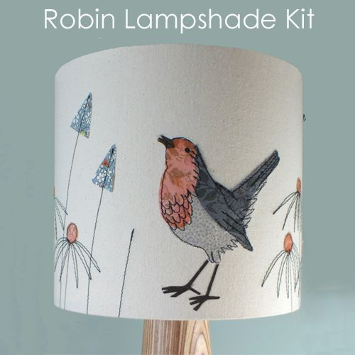 Make this delightful robin lampshade! This is the first lampshade in the brand new range of 'Make It by Jo Hill' wildlife fabric kits. This kit gives you everything you need to make a lovely lampshade featuring a robin in grasses. Use the unique template that I have designed and create your very own wildlife piece! The finished lampshade measures 20cm (diameter) by 18cm (height). The design can either be completed by hand or by using a sewing machine.