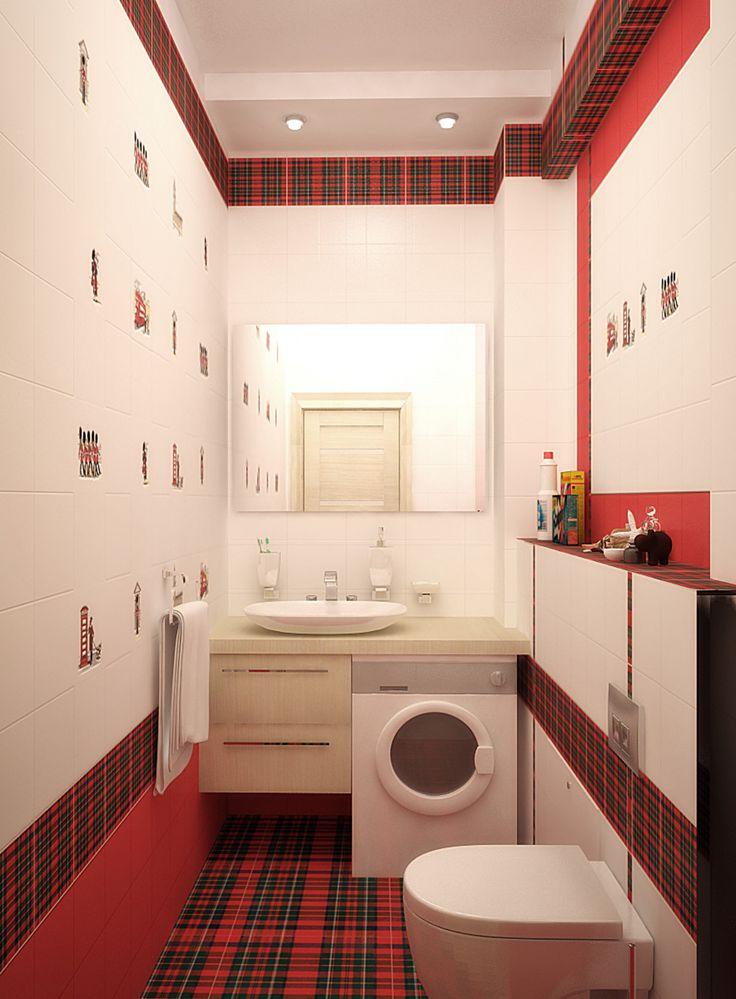 Замечательная полоска красной клетки так оживляет белый интерьер ванной комнаты.