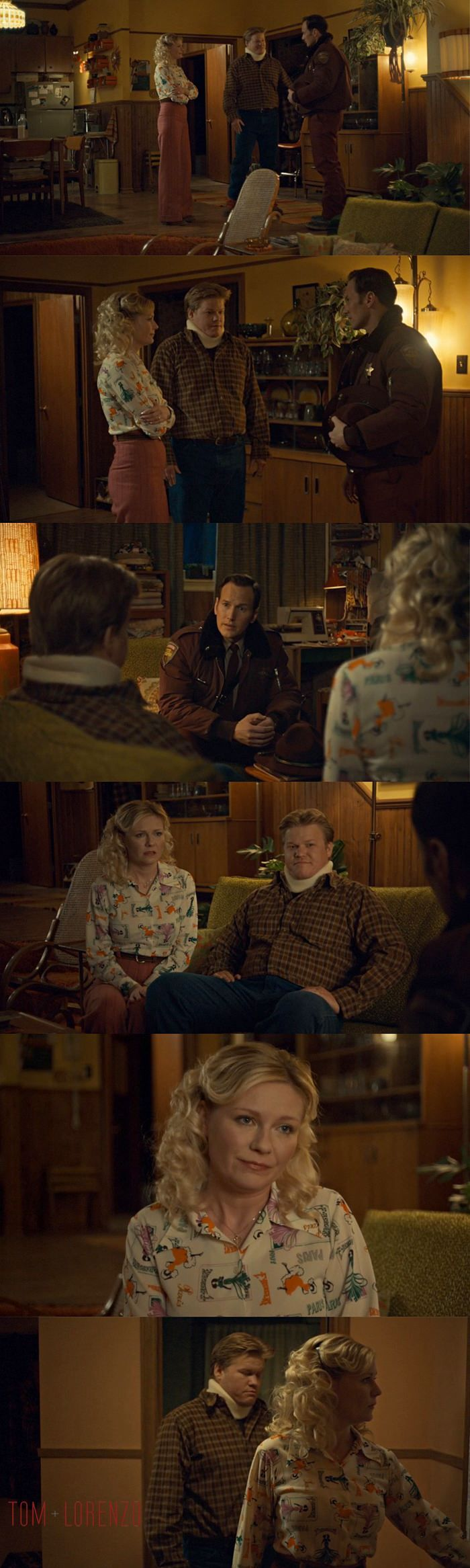 "Fargo 'Fear and Trembling' Season 2 , Episode 4 | All of Peggy's small town middle class aspirations are represented in that blouse, with ""PARIS"" written all over it, representing a dreamy anywhere-but-here sentiment that underlies all her actions, and Can Can dancers representing a more glamorous version of womanhood; just like the drawings of flawless women that adorn the walls of the salon and taunt her with their perfection. It's the Blouse of Insecurities."