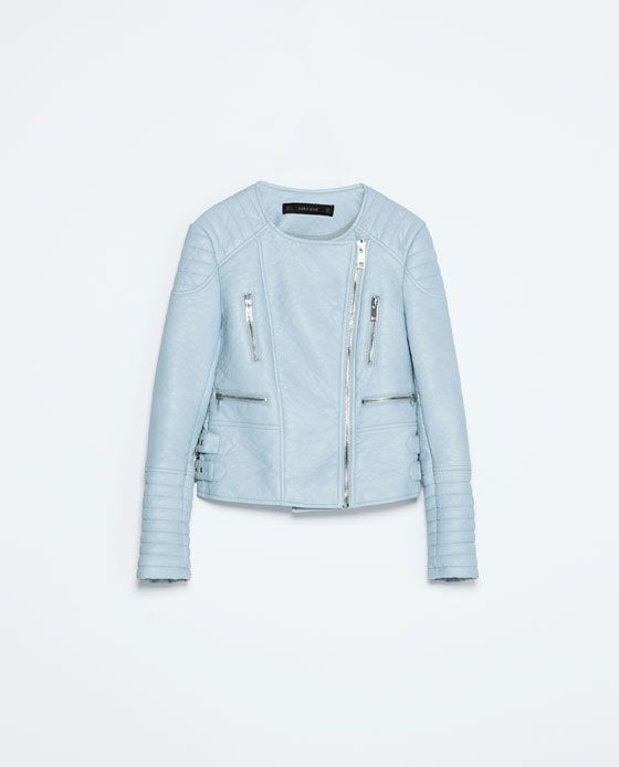 Image 8 of PASTEL COLOURED FAUX LEATHER ZIP JACKET from Zara